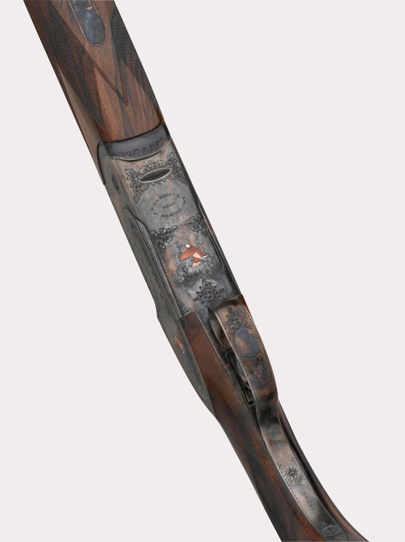 il fucile fausti class SL Dedicato alla Regina tartarugato visto dal basso