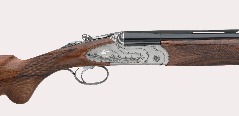 il lato destro del fucile fausti class SL Dedicato alla Regina, versione argento vecchio