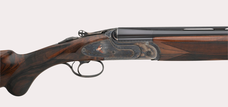 il lato destro del fucile fausti class SL Dedicato alla Regina, versione tartarugata