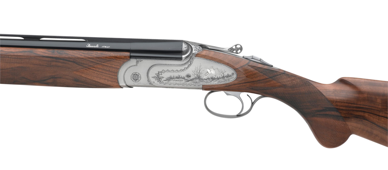 lato sinistro del fucile fausti class SL Dedicato alla Regina, modello argento vecchio