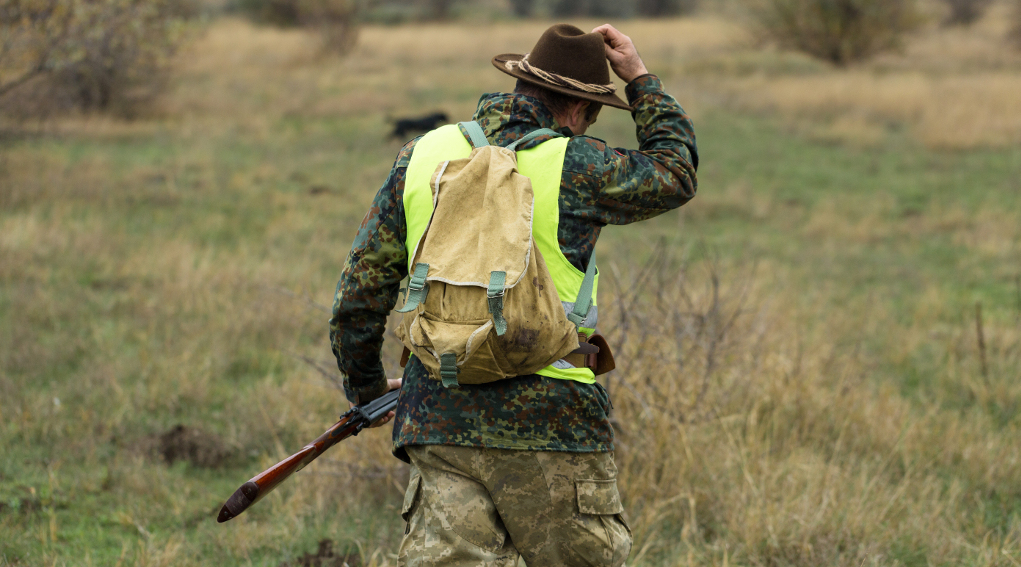 annotazione dell'abbattimento sul tesserino venatorio: cacciatore di spalle con gilet ad alta visibilità e cappello