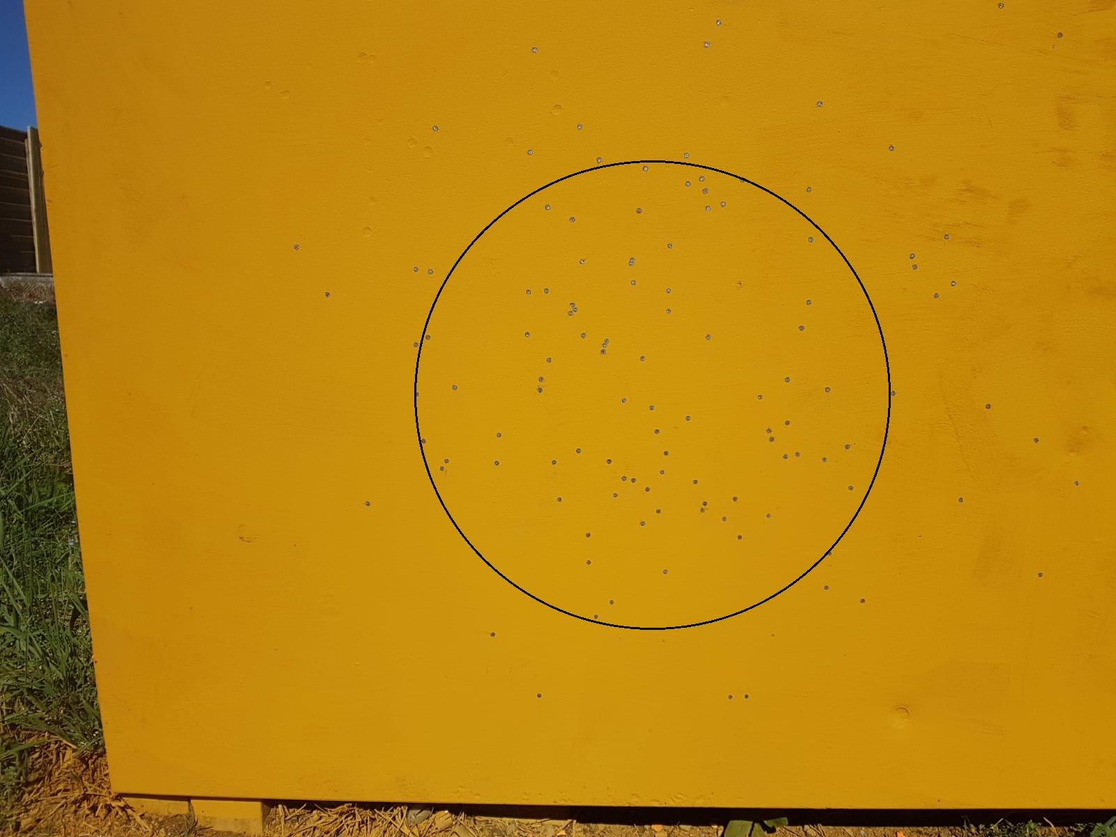 prova di rosata con la cartuccia ricaricata 36 magnum a 23 metri