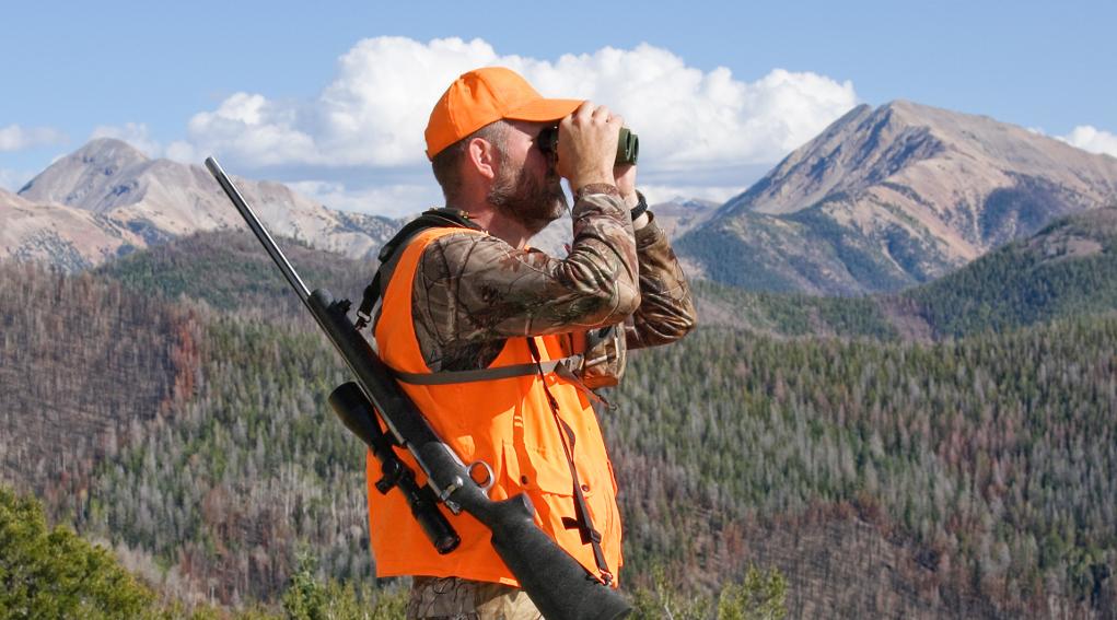 caccia nella fase 2 dell'emergenza sanitaria: cacciatore con gilet alta visibilità guarda nel binocolo, carabina a tracolla