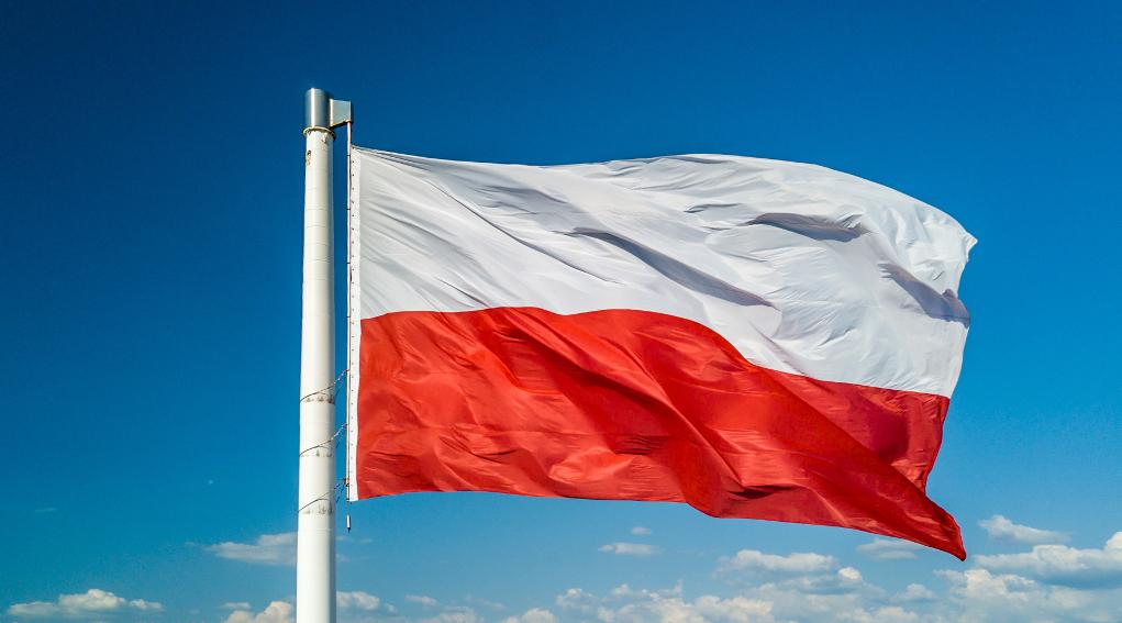 Minorenni a caccia in Polonia: bandiera della Polonia sventola con sfondo di cielo nuvoloso
