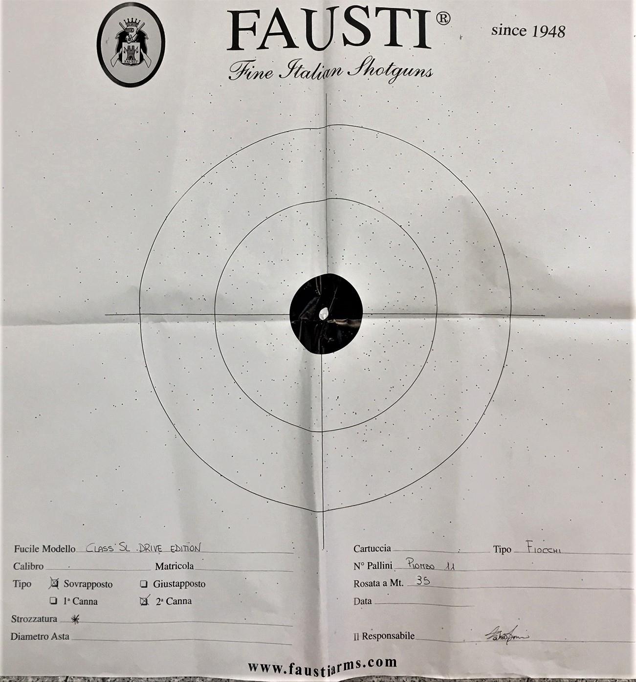 prova di rosata a 35 metri, test del fucile Fausti Class SL Drive Edition
