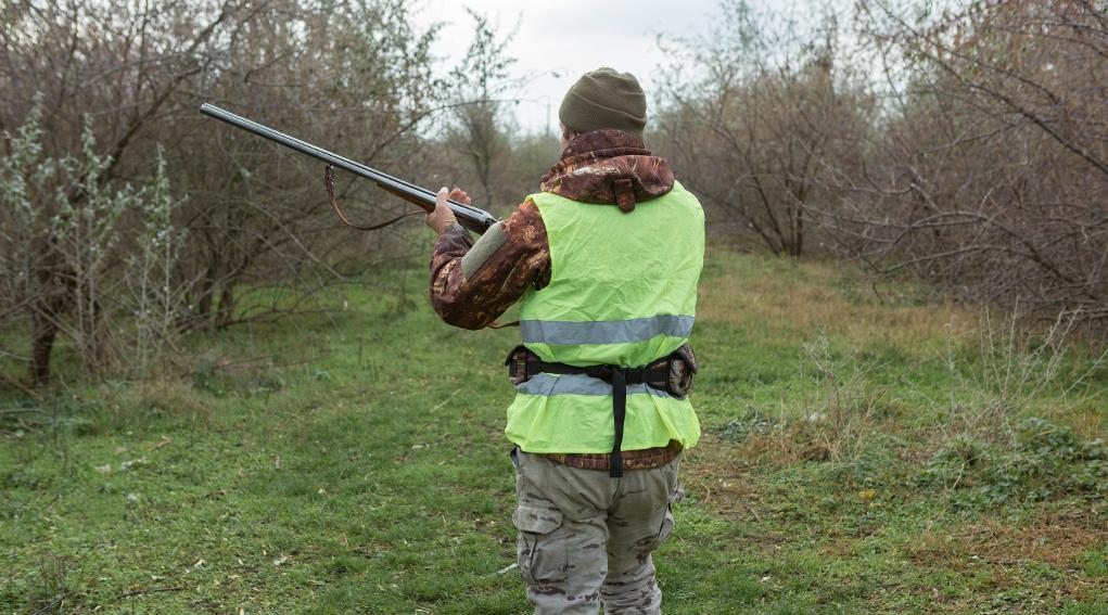 legge sulla caccia in Lombardia: cacciatore di spalle con fucile tra le mani, abbigliamento alta visibilità
