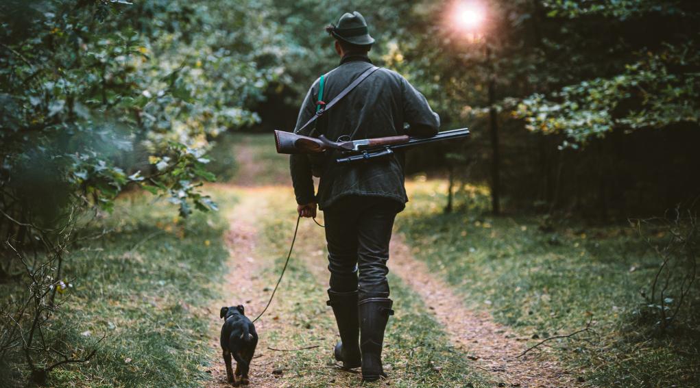 cacciare in un'altra regione: cacciatore di spalle con fucile a tracolla, cane al guinzaglio alla sua sinistra