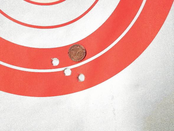 rosata ottenuta con la carabina Mossberg Patriot American Hunter caricata con munizioni brenneke tug da 181 grani
