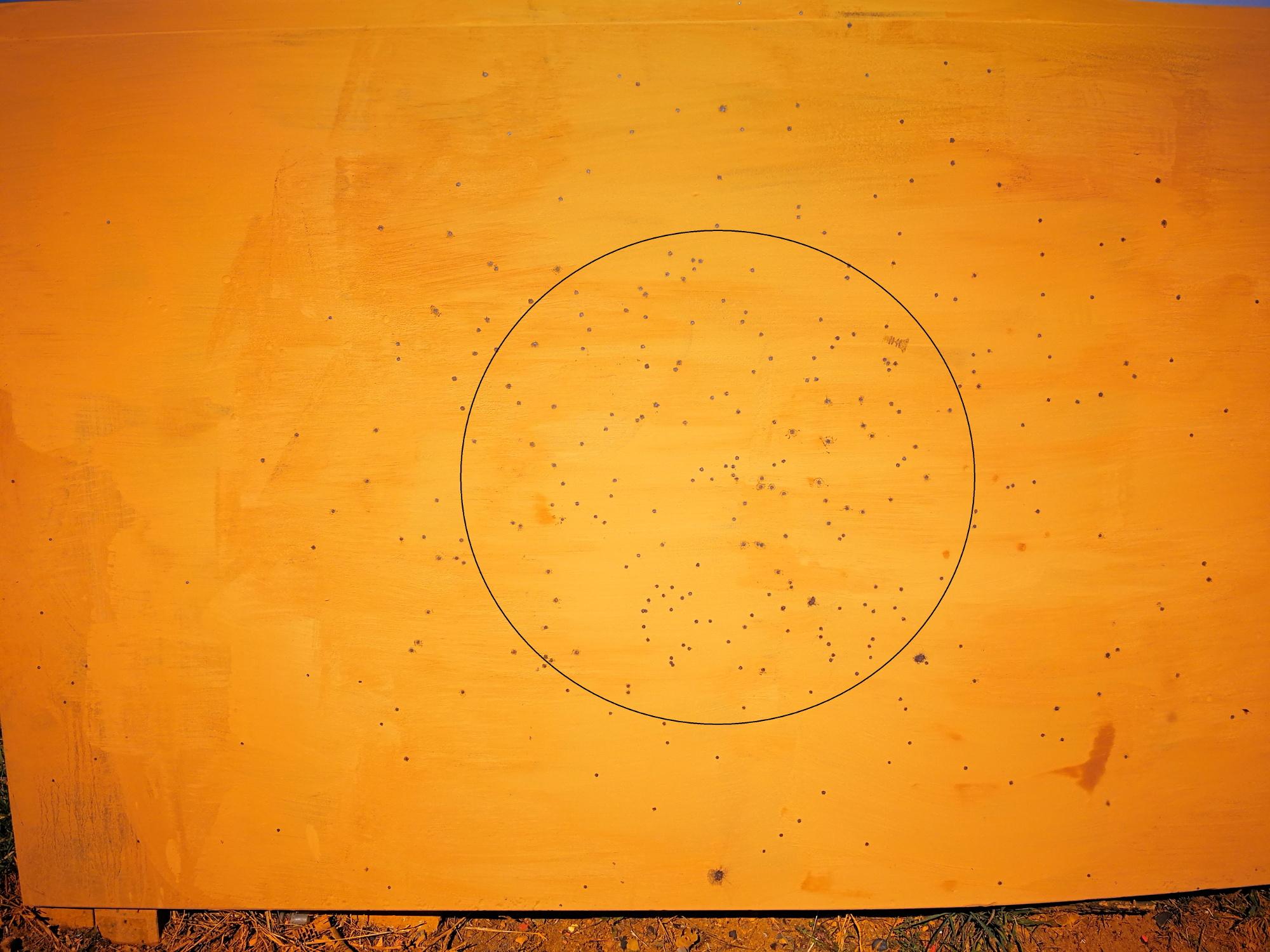 rosata a 18 metri della cartuccia calibro 28 ricaricata con piombo rullato
