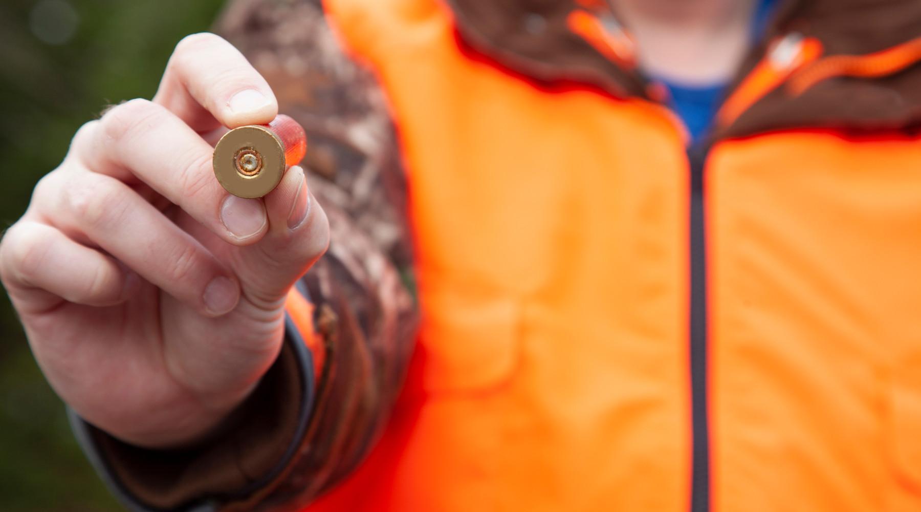 divieto di usare munizioni in piombo: cacciatore con munizione in mano