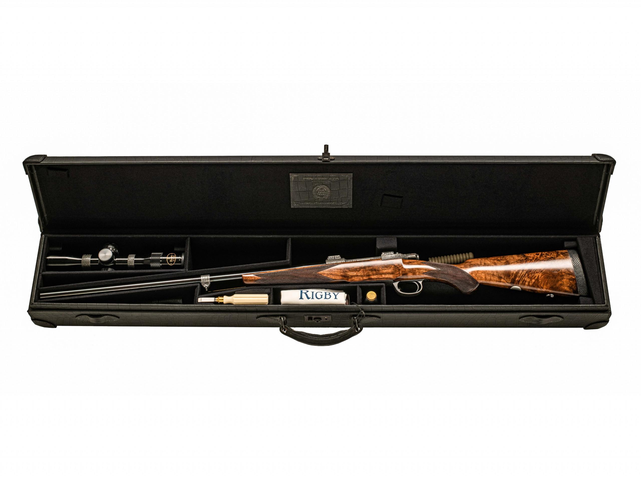 aperta, la custodia della carabina bolt action in edizione limitata Rigby Highland Stalker Nile