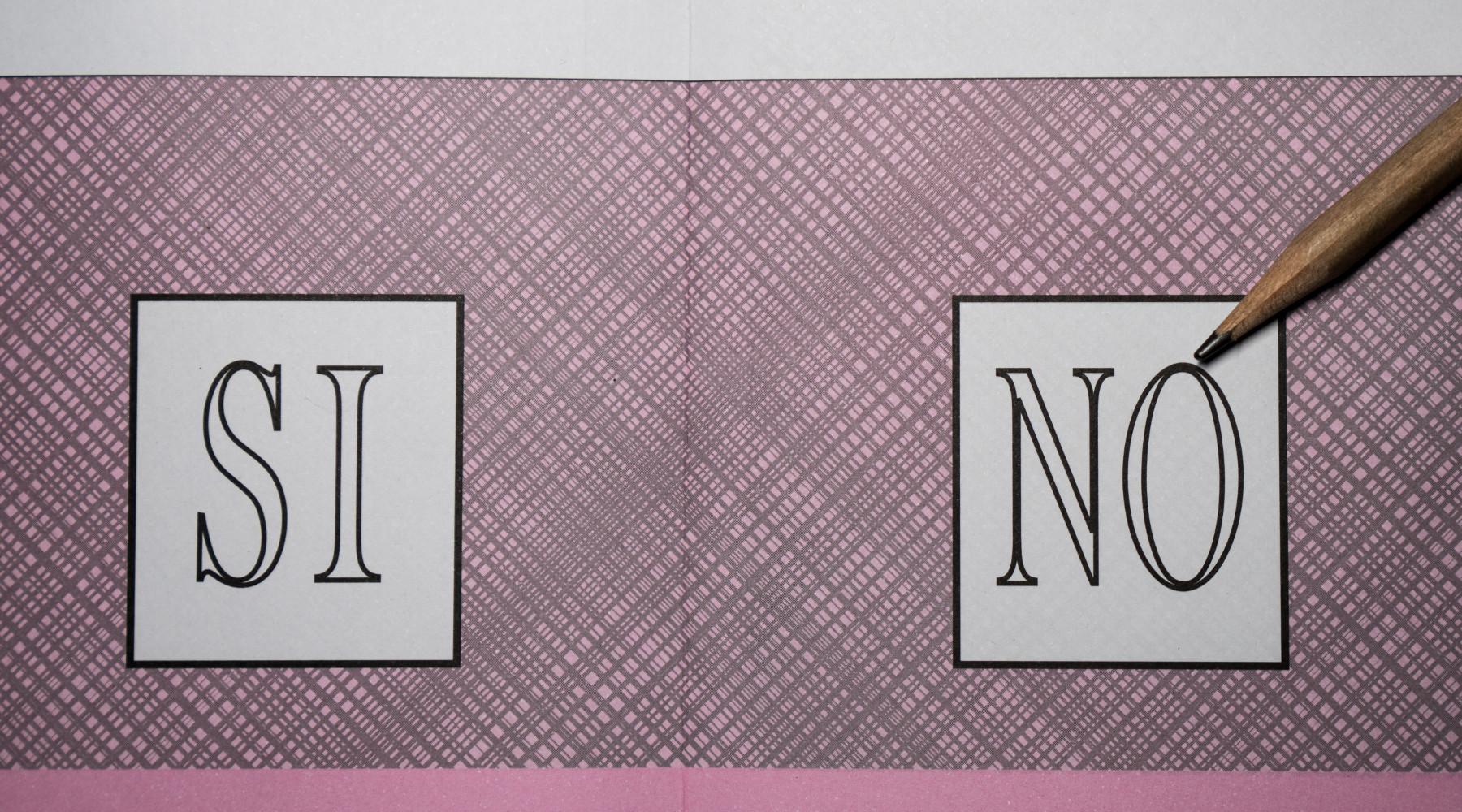 Referendum sulla caccia: scheda elettorale con sì e no